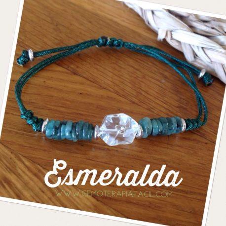Pulsera esmeralda y cuarzo blanco