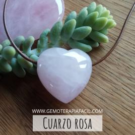 Cuarzo rosa corazón colgante