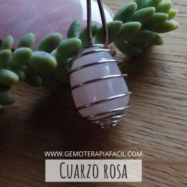 Cuarzo rosa colgante jaula