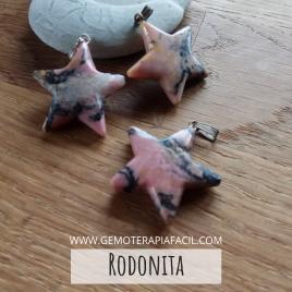 Rodonita estrella colgante