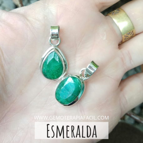 colgante esmeralda plata de ley
