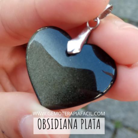 Corazón obsidiana plateada