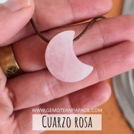 Colgante luna cuarzo rosa