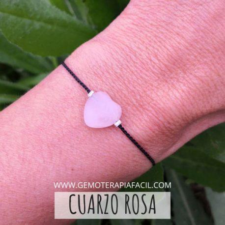 corazón cuarzo rosa pulsera