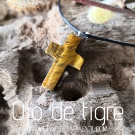 colgante cruz de ojo de tigre
