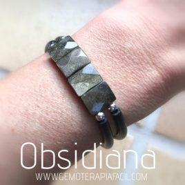 pulsera obsidiana dorada