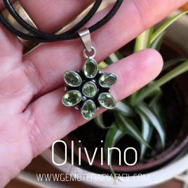 Colgante olivino plata de ley