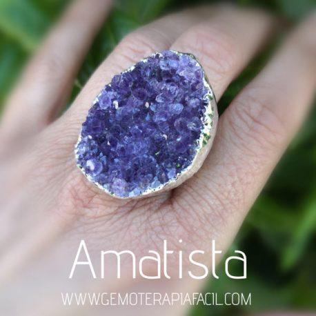 anillo drusa de amatista gemoterapia facil