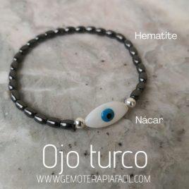 Pulsera ojo turco hematite gemoterapia facil 2