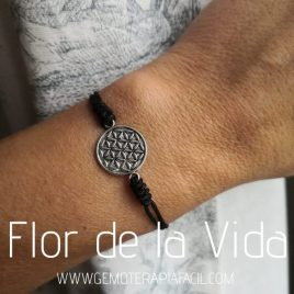 flor de la vida pulsera gemoterapia facil negra
