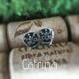 pendientes calavera mejicana Catrina plata de ley