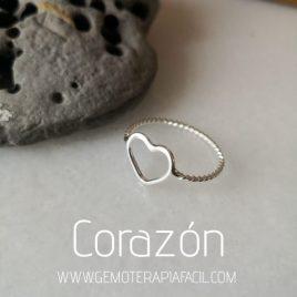 anillo corazon plata de ley gemoterapia facil