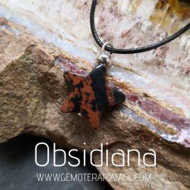 colgante obsidiana caoba estrella natural gemoterapia facil
