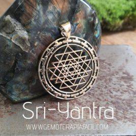 Sri Yantra geometría sagrada colgante gemoterapia facil