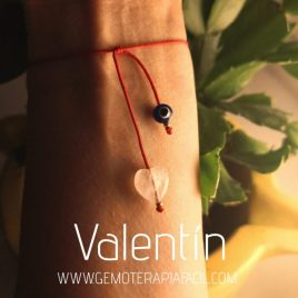 pulsera San Valentín corazón cuarzo rosa gemoterapia facil