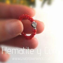 anillo coral y hematites gemoterapia facil
