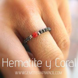 anillo hematite y coral gemoterapia facil