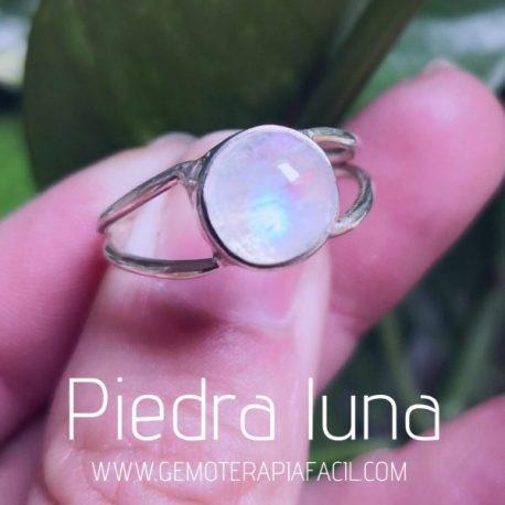 anillo piedra luna natural gemoterapia facil