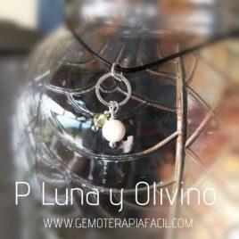 colgante de piedra Luna y olivino gemoterapia facil