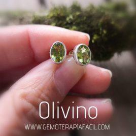 pendientes olivino facetado plata de ley gemoterapia facil