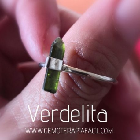 anillo de turmalina verde plata de ley gemoterapia facil