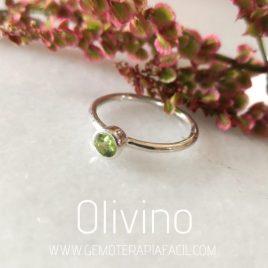 anillo de Olivina plata de ley gemoterapia facil