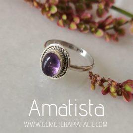 anillo de amatista ovalado plata de ley gemoterapia facil
