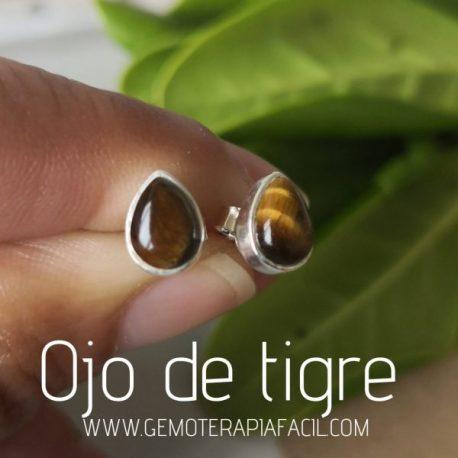 pendientes ojo de tigre plata de ley gemoterapia facil