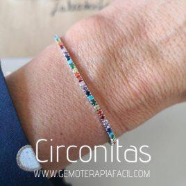 pulsera circonitas de colores plata de ley gemoterapia facil