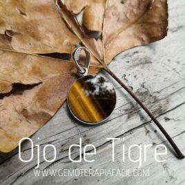 colgante ojo de tigre redondo plata de ley gemoterapia facil