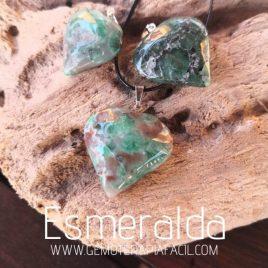 colgante corazón de Esmeralda gemoterapia facil
