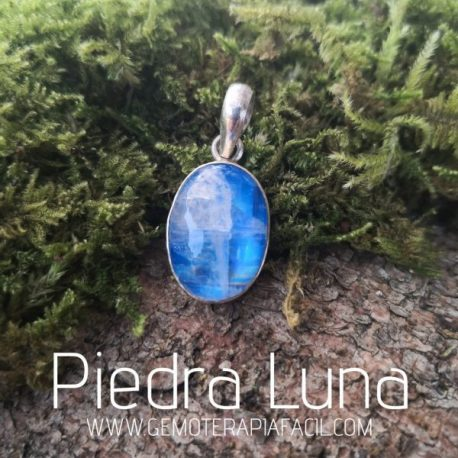 colgante piedra Luna Azul natural de Hemoterapia fácil
