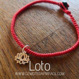 pulsera flor de loto hilo rojo turmalina negra gemoterapia facil
